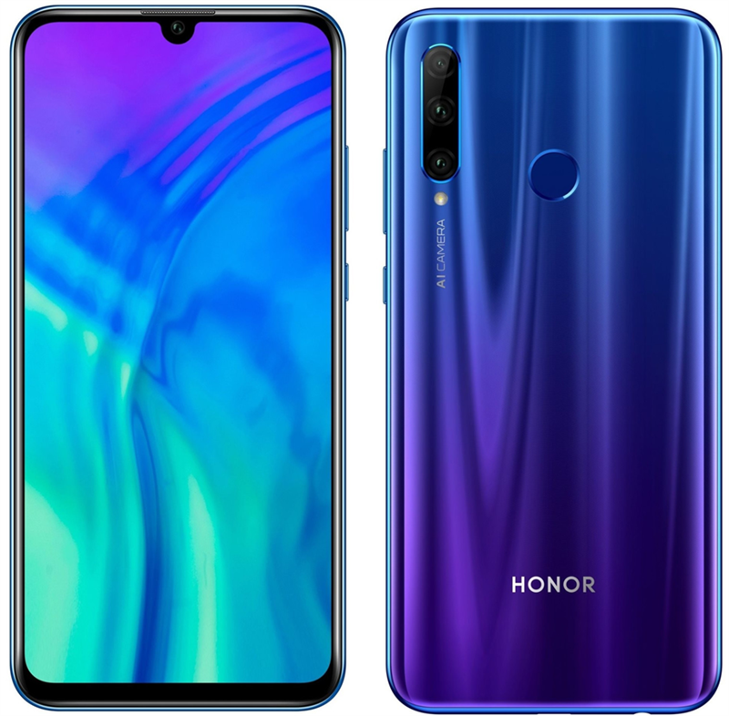 Huawei Honor 20 Lite Dual Sim (128GB/Phantom Blue) uden abonnement, gratis levering til pakkeshop